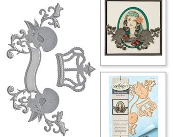 Spellbinders Shapeabilities Rebel Skull Banner Etched Dies Rebel Rose by Stacey Caron S5-292