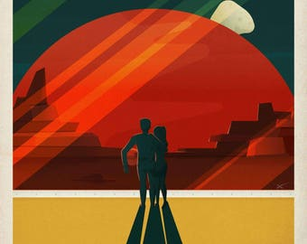 """Instant download - Post HD NASA Travel-""""cruise to destination of the moons of Mars""""-Vintage Design printable up to A0 size"""