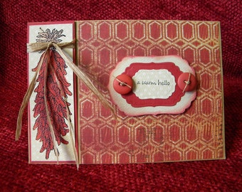 Hand-stamped Chili Pepper Ristra Hello Greeting Card with Raffia and Buttons