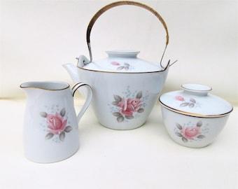 Vintage Noritake China Set |  Tea Set | Coffee Server Set | Noritake Teapot | Sugar Bowl and Creamer | Roseville | Pink Rose Teaset