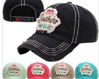 Hot Southern Mess embroidered women's baseball cap, Southern, preppy baseball hat, Southern Summer Hat