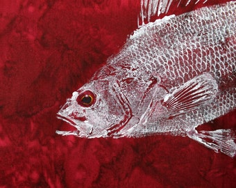 Perch Original GYOTAKU Fish Rubbing Art on Deep Rich Red Cloth Lake House Cottage Decor by Barry Singer