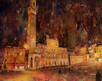 Painting of Piazza del Campo in city of Siena Italy, Art Siena painting watercolor, Siena Italy art print Venice watercolor painting wall