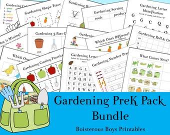 Gardening PreK Printable Learning Pack 2-Part Bundle
