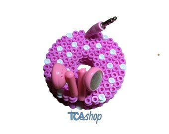Pink Donut Cord Ties organizer, ear bud holder hama beads cable holder kawaii  Earphone holder gift for her, girly