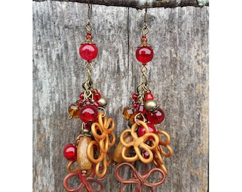 Peanut Butter and Jelly - Romantic Statement Earrings