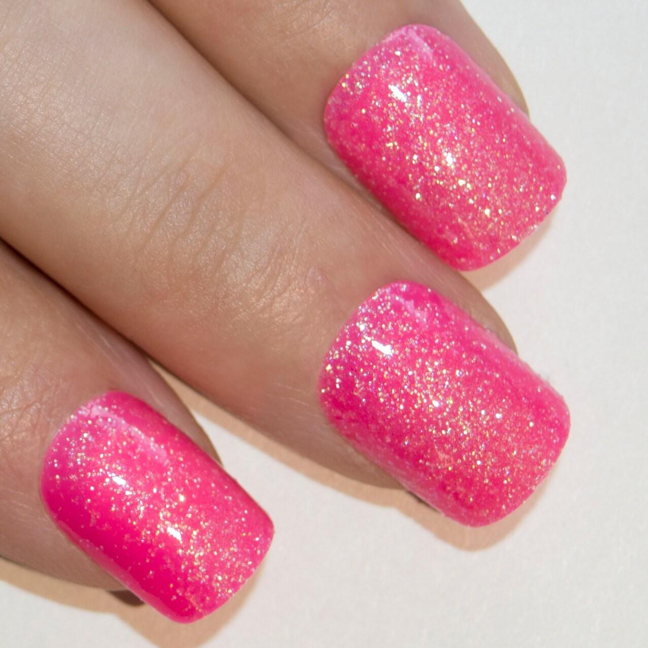 Bling Art False Nails French Manicure Pink Fuschia Gel Glitter ...