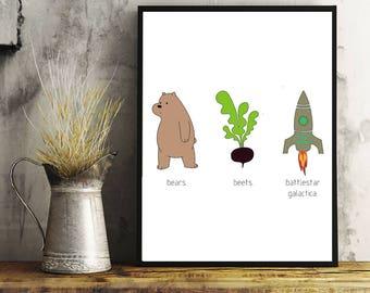 Bears Beets and Battlestar Galactica, The Office, Home Decor, Wall Art, Printable Art, Digital Art, Dwight Schrute, The Office Tv Show