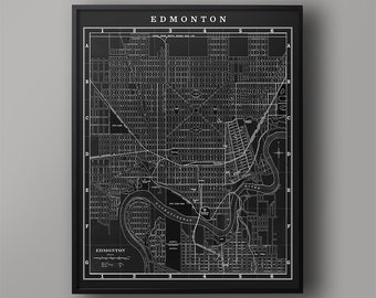 MAP of EDMONTON : Vintage Edmonton Alberta Canada - Edmonton City Map - Old Edmonton Map - Edmonton Wall Map - Edmonton Canada Map Art