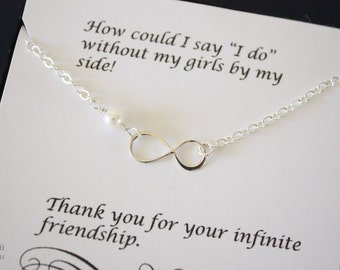 Infinity Bridesmaid Necklace, Infinity Jewelry, Best friend Gift, Thank You Card, White Pearl, Sterling Silver Necklace