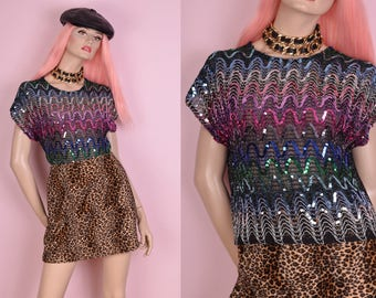 80s Colorful Sequin Mesh Top/ Large/ 1980s