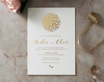 Moroccan-Ball Wedding Invitation - Elegant Foil Stamping, White - IWF16065-GW-GG