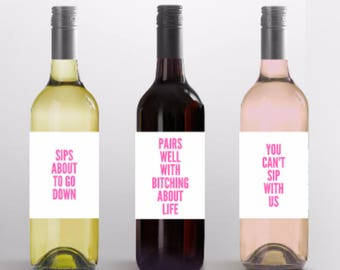 GIRLS NIGHT IN Wine Labels-  Custom Wine Labels- Hostess Gift- Funny gift- Funny holiday gift- Funny holiday decor-  Funny wine label- gno