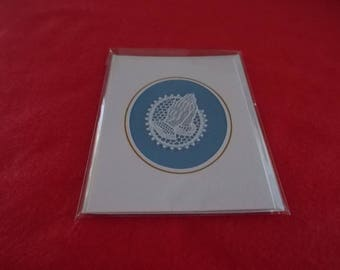 Card with Belgian Lace praying hands on blue