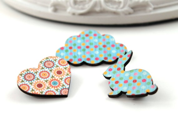 Bunny rabbit cloud  and heart wooden brooch set blue red