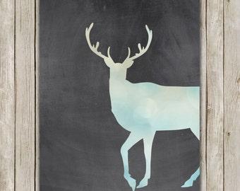 8x10 Deer Art Print, Deer Printable Art, Bokeh Chalkboard Print, Holiday Poster, Nursery Wall Art, Home Decor, Instant Digital Download