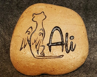 """ANGEL CAT MEMORIAL Stone 6"""" or 4.5"""" (approx.size) Angel Kitty Engraved & Personalized with Name"""