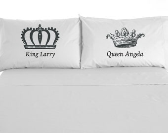 King and Queen Personalized Pillowcases, Wedding Gift, Love, Valentine's Day, Set of 2