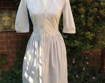 Vintage 1950's Style Taupe andWhite Stripe Dress