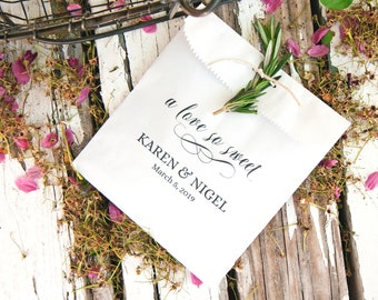 Wedding Favor Bags - Script - A love so Sweet - Personalized Candy or Cookie Bag - 20 White Favor Bags included