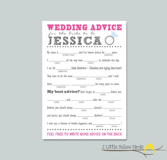 Bride To Be Advice Card Mad Libs