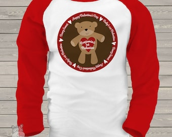First Valentine Bear raglan Tshirt- adorable for your little valentine  snlv-049-r