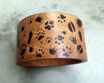 Animal Tracks Bracelet Wood Burned Bangle Woodland Forest Elf Jewelry