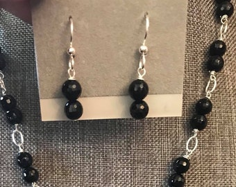 Faceted Onyx Sterling Silver Earrings