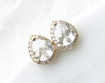 Clear gold teardrop earrings, Cubic Zirconia earrings, Stud earrings, Bridesmaid gift, Bridal earrings, Wedding earrings, Maid of honor gift