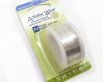 Artistic Wire, 24 Gauge Silver Wire, Tarnish Resistant Silver Artistic Wire, 10 Yard Spool, Wire Wrapping Supplies, Item 115wr