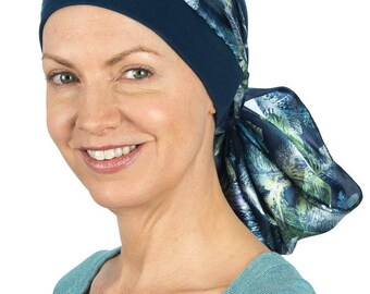 Bethany - Jersey Cotton Hat with Chiffon Scarf for Cancer, Chemo and Hair Loss
