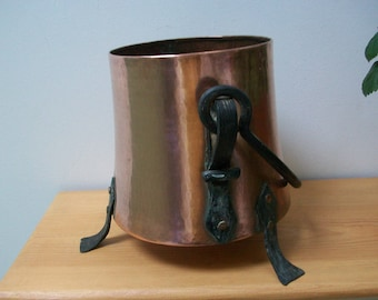 Vintage French Arts and crafts copper bucket, iron feet and handle Signed #47