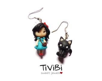 Kiki's delivery service earrings, Kiki and Jiji, jiji charm earrings, Studio Ghibli jewelry, Kiki and the cat, black cat, kiki charm