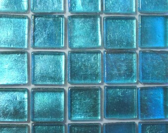 "15mm (3/5"") Turquoise Metallic Foil Backed Glass Mosaic Tiles//Mosaic Supplies//Craft Supplies//Mosaic Pieces"