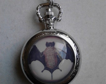 The Bat pocket watch necklace