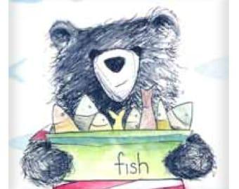 Bear & Fish illustration fridge magnet  50mm x 50mm
