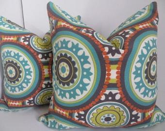 16x16 Outdoor Pillow, Pillow Cover,Orange Pillow, Suzani Pillow, Turquoise Pillow, Green Suzani Pillow, Dark Grey Suzani Pillow