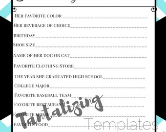Breakfast at Tiffany's Bridal Shower Game Template - How well do you know the bride?