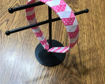 Pink and white ribbon wrapped headband