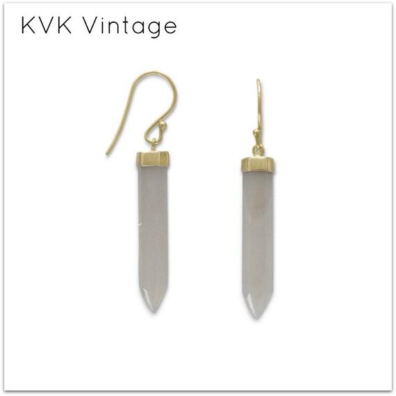 14 Karat Gold Plated Gray Moonstone Spike Earrings