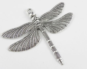 Large Dragonfly Pendant Charm in Antiqued Silver - 63mm x 71mm