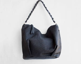 Leather Braid Hobo Bag / Shoulder Bag / Slouch Bag / Black leather bag / Tote Bag / Leather Tote / Leather Hobo Bag / Black leather Tote/