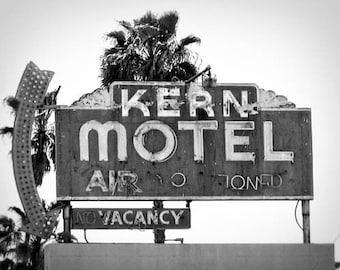 Kern Motel - 11 x 14 Fine Art Photographic Print - Black and White