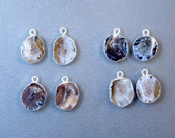 Tiny Agate Geode Pair Druzy Charms-- Petite Agate Geode Druzy Charms Pendants Dipped in Electroplated Silver -- 1 PAIR (S18B10-03)