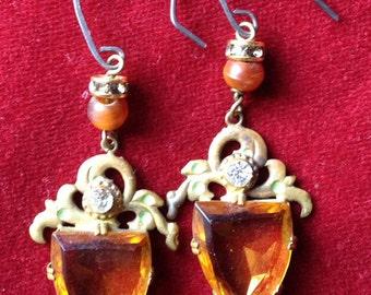 Czech amber stone and rhinestone earrings
