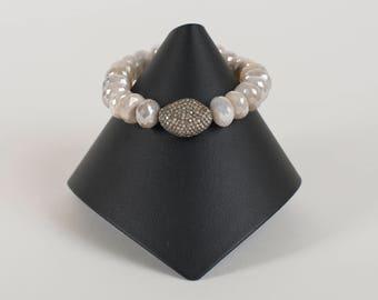 Pave Diamond Focal Bead on Mystic Moonstone Rondelle
