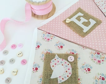 Personalised Bunting Pink and Cream