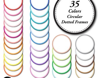 Round Dotted Frame Clipart, Circle Labels Clipart, Circle Frames and Tags, Commercial Use, AMB-1152
