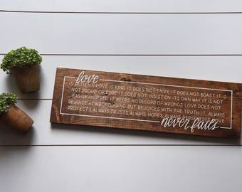 "Hand painted ""LOVE NEVER FAILS"" 1 Corinthians 13:4-8 scripture wood sign, rustic Christian decor, marriage Bible verse, wedding anniversary"