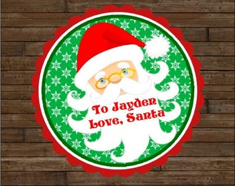 Personalized Christmas Stickers     Santa Stickers       Santa Favor Tags   Santa Gift Tags   From Santa Stickers    From Santa Tags
